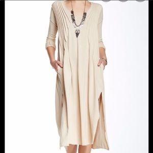 Free People Sophie Beige V-Neck Midi Dress